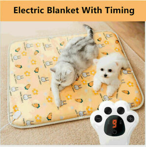 9level Puppy Heat Pad Electric Heated Mat Blanket Dog Cat Whelping Bed Mat Timer
