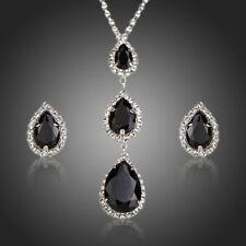 Pear Black Cubic Zircon White Stones Pendant Necklace Stud Earrings Jewelry Set