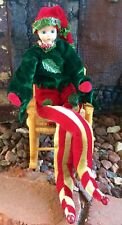 Vintage Christmas Jester Dwarf Elf Ornament Poseable Dark Green Red St Patrick