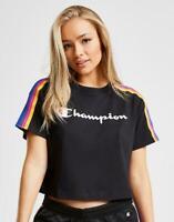 New Champion Women's Rainbow Tape Crop Short Sleeve T-Shirt