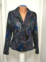 Coldwater creek size 8 Jacket  Paisley Lined Button Long Sleeve Cotton Spandex