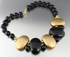 VINTAGE 60'S CHUNKY GOLD TONE & BLACK LUCITE BEAD BIB COLLAR NECKLACE