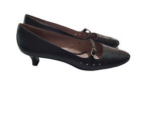 HUSH PUPPIES Black 'Emma' Mary Jane Low Heel Leather Shoes - Size 9