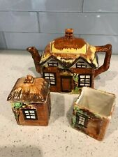 Price Brothers Cottage Ware Teapot + Creamer+ Lidded Sugar England Old 1940 3 pc