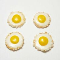 Set of 4 Dollhouse Miniature Fried Eggs * Doll Mini Tiny Food Breakfast Kitchen