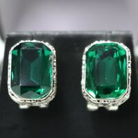 Sparkling 4 Ct Vintage Green Emerald Earring Tibetan Silver Nickel Free Gift Box