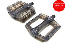 "Snafu Platform PC Pedals BMX Or MTB  9/16"" 4130 Cro-moly Axle Smoked Clear (Blk)"