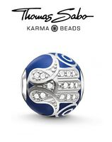 Genuine THOMAS SABO KARMA 925 sterling silver BLUE FATIMA'S HAND charm bead
