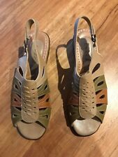 Ladies Cute Brown Multi Colour Leather Open Toe Sandals By MG Size 38 Aus 6/7