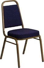 Trapezoidal Back Stacking Banquet Chair in Navy Patterned Fabric with Gold Frame