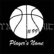 BASKETBALL STICKER CUSTOM BASKETBALL PLAYER DECAL NAME AND NUMBER