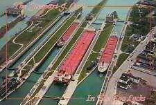 Aerial View Soo Locks Sault Ste. Marie MI, The Stewart J. Cort --- Ship Postcard