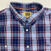 The Foundry Button Up Shirt Men's Size 4XL Short Sleeve Blue Plaid 100% Cotton