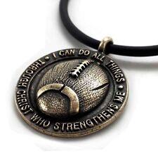 Phil 4:13 Football Necklace Brass  (SP7B)