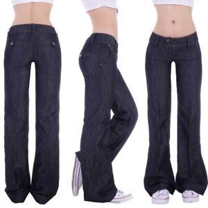 Damen Marlene Schlaghose Schlag Bootcut  Hüftjeans weites Bein Denim Jeans S1