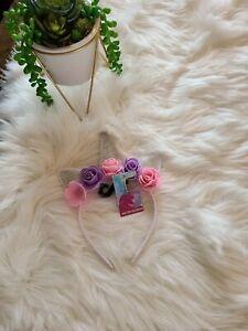 Lavender & Pink Flower Unicorn Headband, Kid or Adult Costume Accessories