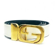 VINTAGE 1970's GUCCI Reversable White Black Leather Gold G Buckle Belt