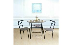 Small Grey Wooden black Metal Dining Table And 2 Chairs Compact Set Kitchen Room