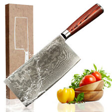 "7"" inch Japanese Chef Knife Damascus Stainless Steel Meat Kitchen Cleaver Knife"