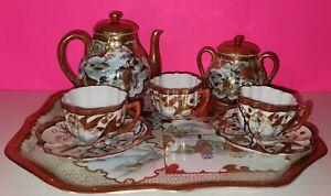 Vintage Dragonware Japanese Moriage 8-Piece China Tea Set, Very Good Condition