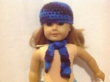 "American Girl doll 18"" Blue Purple hat/beanie & scarf winter outfit Clothes fit"