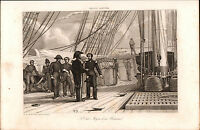 Gravure XIXe Marine Navy État Major de Vaisseau 1848