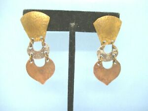 Marjorie Baer Vintage Mixed Metals Dangle Pierced Earrings Light Textured