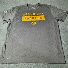 Nike Mens Grey Dri Fit T Shirt Adult 2X Large GREEN BAY PACKERS Soccer Size 2XL