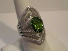 Judith Ripka Bold Sterling Silver CZ & Peridot Cocktail Ring - Size 8.5 - NWOT