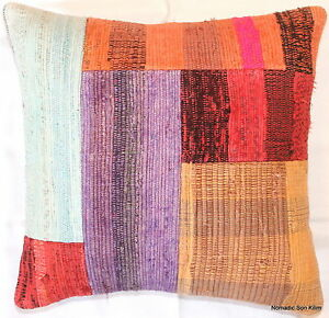(40*40cm, 16inch) Genuine Turkish handwoven kilim cushion  colourful patchwork 2