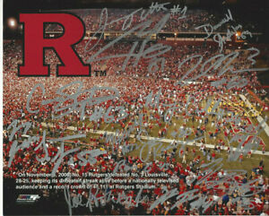 2006 Rutgers Autographed football 8 x10 color action photo 13 Sigs