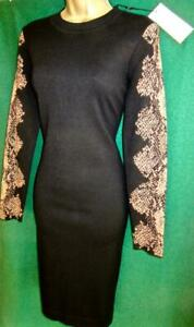 New KAREN MILLEN 14/Lg Black Snakeprint Long Sleeve Stretch Knit Zip Dress KE051