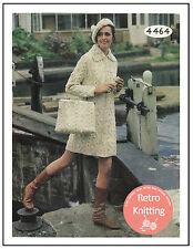 Années 1960 Aran manteau, sac et Béret Tricot Motif-copie