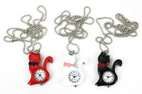 Cat Pendant Necklace Watch Black Cat White Cat Red Cat