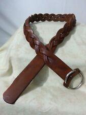 Vtg 60s Hand Made Belt Thick Leather Braid Metal Ring Hippy Boho Steam Punk 40