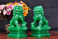 "4"" Pair Feng Shui Lion Statue Evil Palace Gate Guardian Door Fu Foo Dog Beast"