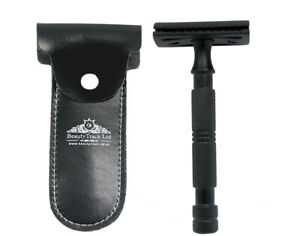 Black Vintage Double Edge Shaving Safety Razor Stainless Steel Blades And Pouch