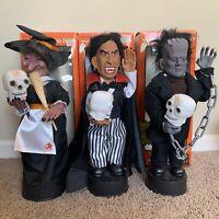Vintage Telco Frankenstein Witch Dracula Motionette Halloween Figure Set Lot