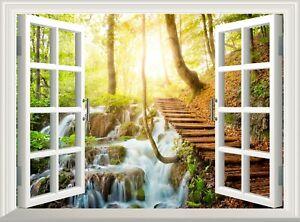 River Forest 3D Effect Window View Wall Sticker Decal Poster Vinyl Mural Art