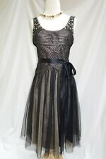 BCBG MAX AZRIA BLACK GOLD CRYSTALS Cocktail Evening Party Dress 4 S 2 XS $478