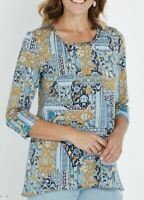 MILLERS Blouse Plus Size 14 16 18 20 22 24 Top Shirt Blue 3/4 Sleeve Paisley