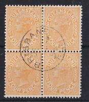 QLD166) Queensland 1890 4d Yellow SG 193 block of 4 CTO with gum