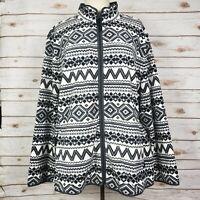 Talbots Black White Gray Fair Isle Nordic Print Full Zip Fleece Jacket Size 3X