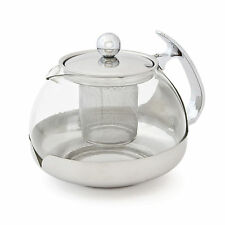 1.2L 1200ml Modern Glass Stainless Steel Teapot Loose Leaf Infuser Filter Brew