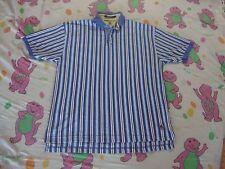 Vintage 90's TOMMY HILFIGER Blue Stripe rap hip hop polo collar Shirt Men's L
