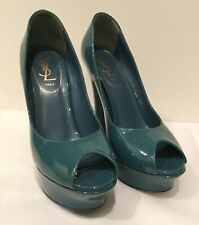 YSL Yves Saint Laurent Palais platform pump ~ Sz 36.5 ~ Open Toe ~ Teal Blue
