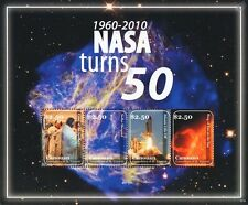 NASA Turns 50 1960-2010 Space Shuttle Atlantis/Apollo XI Astronauts Stamp Sheet