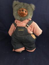 Vintage Robert Raikes Wood Face Jointed Teddy Bear Gray