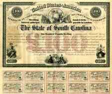 1871 State of South Carolina £100 Bond Certificate