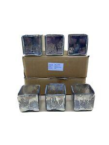 "Mercury Glass Square Votive / Candle Holders 3x2.5"", Set of 12"